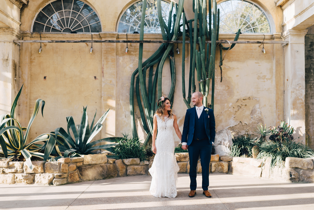 Syon park cactus house bride and groom portraits