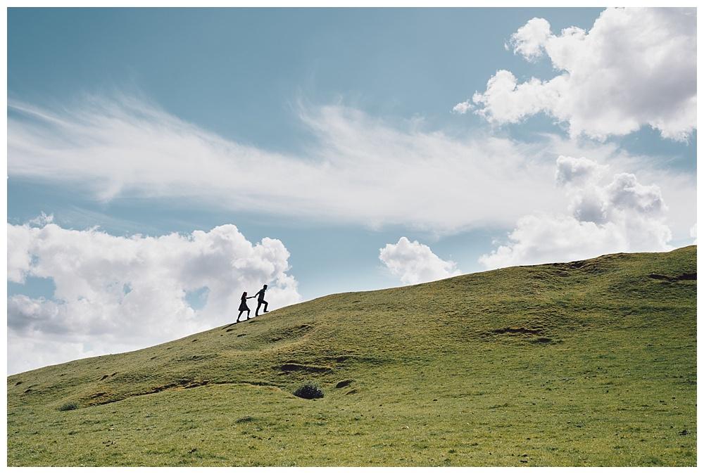 burton dassett hills scenic engagement shoot