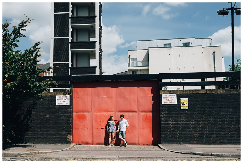 Bright sunshine in Haggerston, London, for an engagement shoot