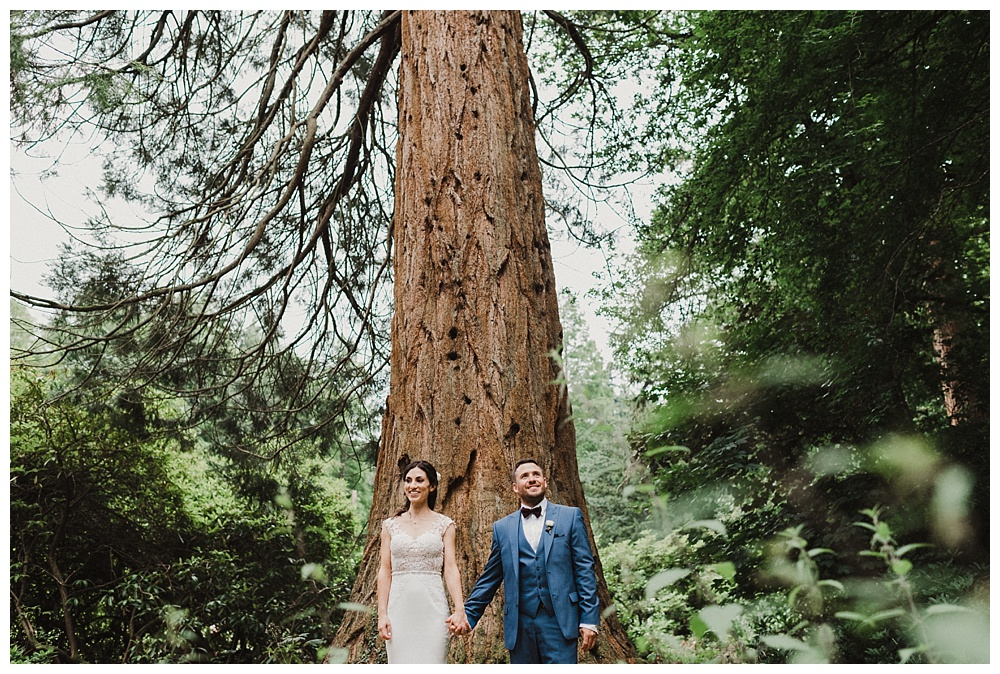 Woodland wedding married couple portraits